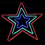 Mr Crimbo Large Star Christmas Rope Light Blue Red White Flashing Static Multi Function Controller Indoors Outdoors 3 Layer 80cm