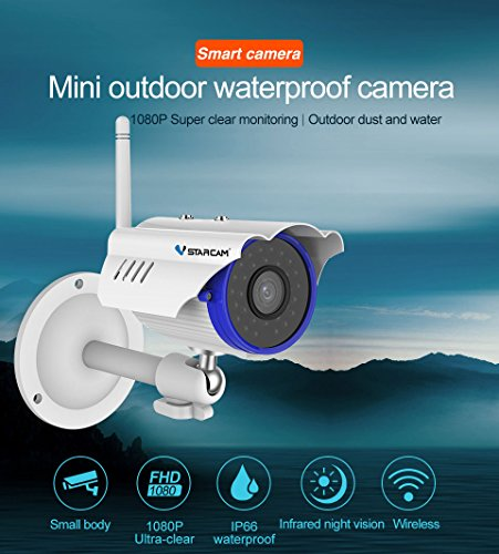 Vstarcam C15S HD 2.0MP 1080P P2P Onvif IP66 Outdoor Bullet Waterproof Security Mini Gun Wireless WiFi IP Camera with IR Cut Night Vision Maximum Support 128G TF Card