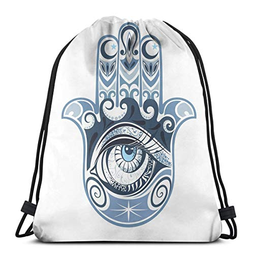 Printed Drawstring Backpacks Bags,Cultural Good Luck Amulet Hand Drawn Artsy Magical Superstitious Sacred,Adjustable String Closure ()