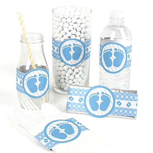 Baby Feet Blue - DIY Party Supplies - Baby Shower DIY Wrapper Favors & Decorations - Set of 15