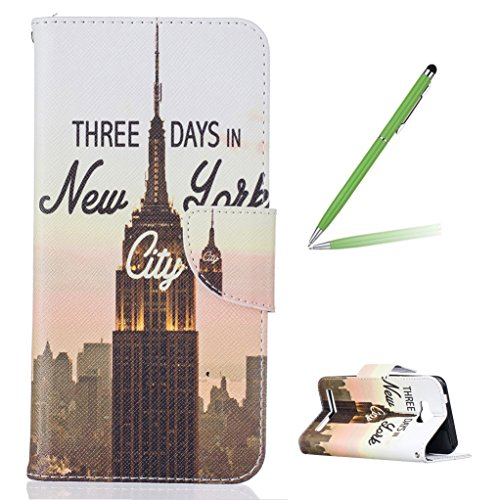 Trumpshop Smartphone Carcasa Funda Protección para Huawei Y3 (2017) + árbol de la vida + PU Cuero Caja Protector Billetera con Cierre magnético [No compatible con Y3] Three Days in New York City