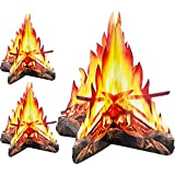 Tatuo 12 Inch Tall Artificial Fire Fake Flame Paper 3D Decorative Cardboard Campfire Centerpiece Flame Torch for Campfire Party Decorations, 3 Set