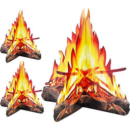 12 Inch Tall Artificial Fire Fake Flame Paper 3D Decorative Cardboard Campfire Centerpiece Flame Torch for Campfire Party Decorations, 3 Sets