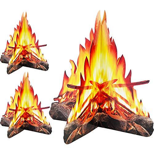 Tatuo 12 Pulgada de Alto Fuego Artificial Hoguera de Carton Decorativa 3D Antorchas de Centro de Mesa Materiales de Fiesta para Decoracion de Fiesta de Fogata, 3 Juegos