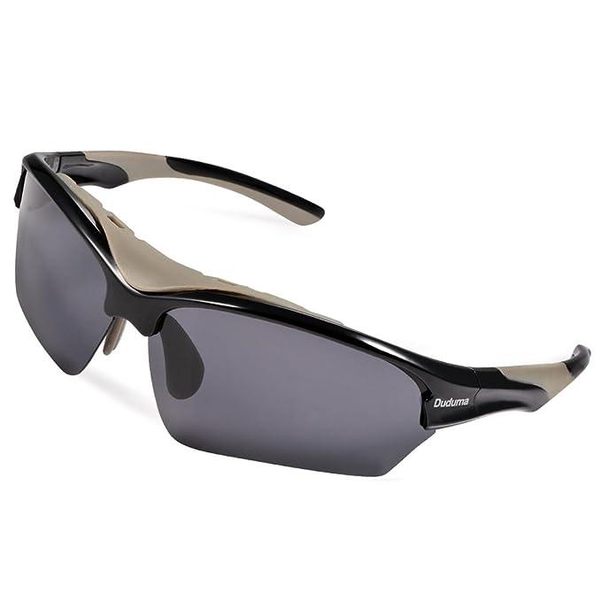 Duduma Gafas de Sol Deportivas Polarizadas Para Esquiar Golf Correr Ciclismo TR628 Súper Liviana Para Hombre y Para Mujer (marco negro con lente ...