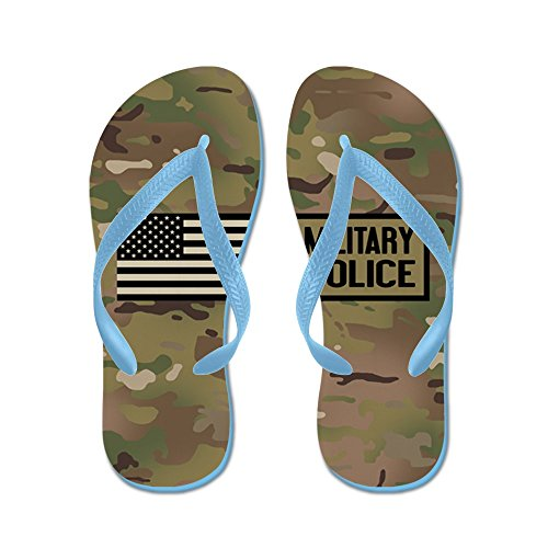 Cafepress Oss Armé: Militärpolis (camo) - Flip Flops, Roliga Rem Sandaler, Strand Sandaler Caribbean Blue