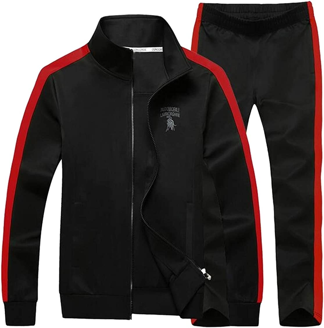 Fensajomon Mens Plus Size Stand Collar Casual Athletic 2 Pieces Suits Jacket /& Pants Outfits Tracksuit Sweatsuits