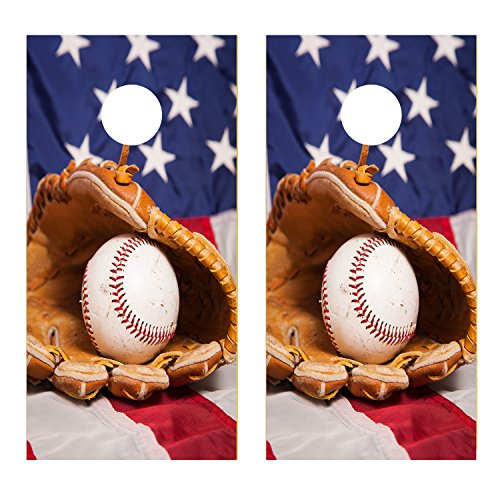 - Baseball and Glove with American Flag CORNHOLE LAMINATED DECAL WRAP SET Decals Board Boards Vinyl Sticker Stickers Bean Bag Game Wraps Vinyl Graphic Image Corn Hole (Laminated)