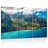 Kreative Arts Large Nature Art Poster Print on Canvas View on Napali Coast on Kauai island on Hawaii Landscape Pictures for Office Walls 16x32inchx3pcs