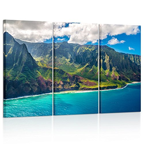 Kreative Arts - Large Nature Art Poster Print on Canvas View on Napali Coast on Kauai Island on Hawaii Landscape Pictures for Office Walls -