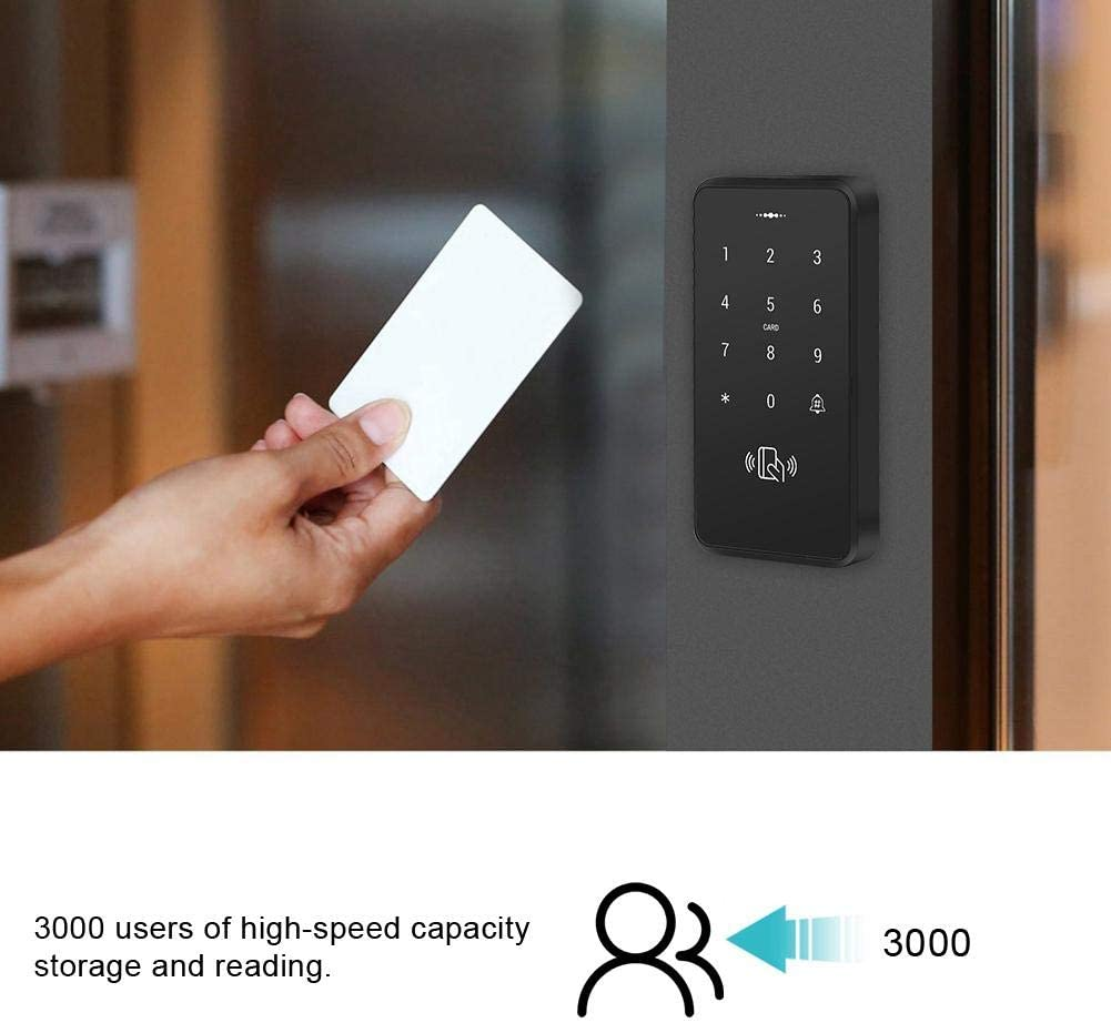 Controlador de Acceso de 3000 usuarios Edificios p/úblicos multifunci/ón para Control de Acceso Entrada de Puerta con Teclado acr/ílico de PVC antirrayas de Lectura de Alta Velocidad