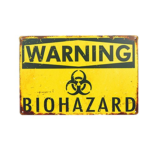 (DL- Warning Biohazard Hazard Sign Hazard Labels Novelty Metal Sign)