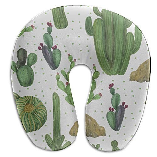 - Travel Pillow Soft Lovely Green Watercolor Oasis Cactus U Shaped Memory Foam Neck Pillow Protector Head Cushion Support Cervical Travel Pillow U-Shape Travel Pillow