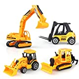 JellyDog Construction Vehicles, Early Engineering Vehicles, Inertia Toy Trucks, Friction Powered Kids Bulldozer, Excavator, Forklift, Farming Car, 5 Inch Big 4 Set Toy for Kids Boys and Girls