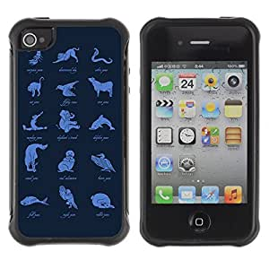 Hybrid Anti-Shock Defend Case for Apple iPhone 4 4S / Animal Pose