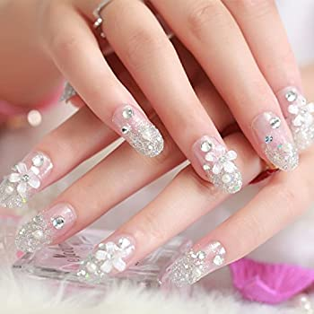 Urberry 24Pcs/Set Bridal False Nails Stick Set Full Cover Fake Nail with Daisy Crystal Diamond for Women and Girls