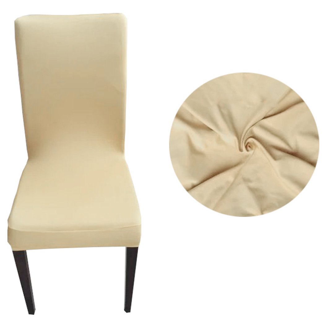 Homdox Spandex Slipcovers Stretch Dining Room Chair Protector Cover, set of 2(Beige)