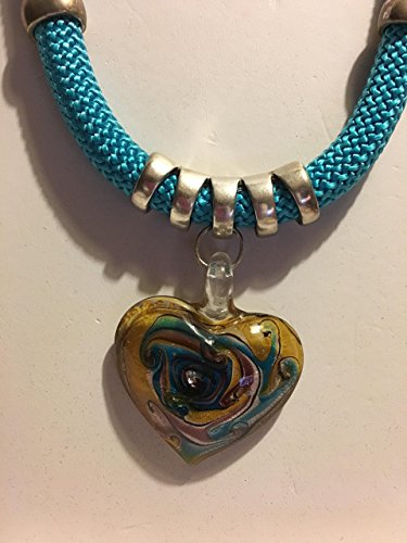 - Turquoise Blue Climbing Rope Necklace with Silver slider and Glass Heart Pendant. End cap closure.