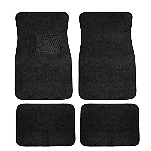 Black Carpet Floor Mat with Heel Pad (Deluxe) (Dodge Charger Black Carpet)