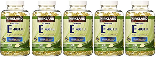 Kirkland Signature, Vitamin E 400 IU 500 Softgels inEiI (Pack of 5) by Kirkland Signature