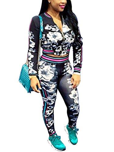 Dreamparis Women#039s 2 Pieces outfits Floral Prints Bodycon Sweatsuits Set Tracksuits XLarge Black