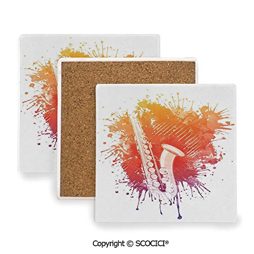 (Ceramic Coaster With Cork Mat on the back side, Tabletop Protection for Any Table Type, Square coaster,Jazz Music Decor,Graphic of Jazz Sax on a Colorful)