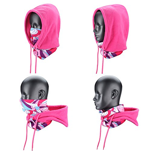 Weanas 4 in 1 Face Cover Hood Mask Balaclava Hat, Hood Veil Thermal Warm Wind Proof Neck Warmers Face Mask and Fleece Hat
