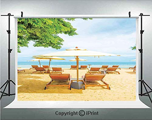 (Seaside Photography Backdrops Umbrella and Chairs on Tropical Beach Summer Vacation Destination Image,Birthday Party Background Customized Microfiber Photo Studio Props,7x5ft,Orange Green and Blue)