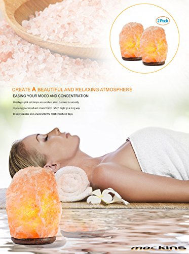 Mockins 2 PACK Natural Hand Carved Himalayan Salt Lamp With A Stylish Wood Base & Bulb With On and Off Switch 6-8 Inches 5-7 lbs by Mockins (Image #5)'