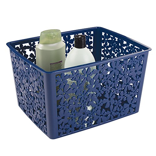 "mDesign Floral Bathroom Vanity Organizer Bin for Health and Beauty Products/Supplies, Towels - 10"" x 7.66"" x 5.6"", Navy"