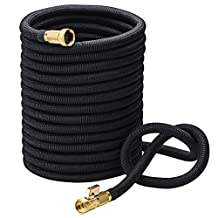 "VicTsing Garden Hose, 100 Feet 3/4"" Expandable Hose with Solid Brass Fittings, 3750 x 3750 Woven Cover, Durable Latex Core, for Garden Car Garage Deck, Black"