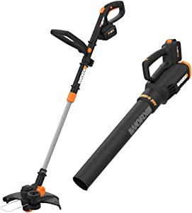 "Worx WG930.3 20V PowerShare 10"" Cordless String Trimmer & Turbine Blower Combo Kit, (2) 4.0Ah Batteries and Dual Charger"