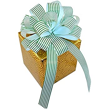 "Green White Striped Christmas Gift Wrap Pull Bows with Tails - 8"" Wide, Set of 6, Wreath, Present, Basket Decor"