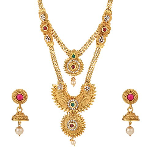 Efulgenz Indian Bollywood Traditional White Red Green Rhinestone Faceted Round Shape Faux Ruby Emerald Heavy Bridal Designer Jewelry Necklace Set in Antique 18K Gold Tone for Women and Girls by Efulgenz (Image #1)