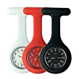 Set of 3 Nurse Watch Brooch, Silicone with Pin/Clip, Glow Pointer in Dark, Infection Control Design, Health Care Nurse Doctor Paramedic Medical Brooch Fob Watch - White Red Black