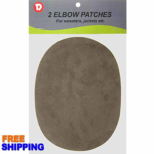 Faux - Suede Garment Iron-On Elbow Patches 4 1/2 x 5 1/2 in 2/Pkg - Antique Grey