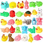rainbow yuango Pack of 30 Mini Colorful Animals Rubber Bath Toys Cute Rubber Assorted Wildlife Animal Characters Baby