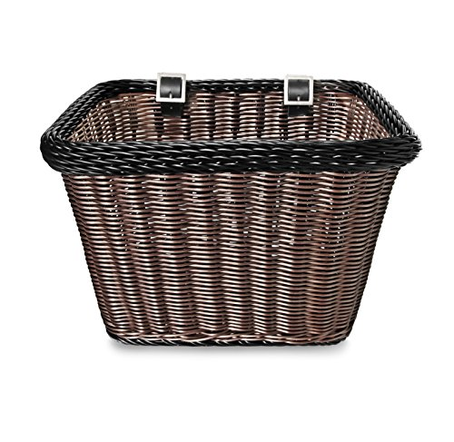 Colorbasket 00696 Rectangular Front Handle Bar Adult Bike Basket, All Weather, Water Resistant, Adjustable Leather Straps, Food-Contact Safe, Brown with Black Trim ()