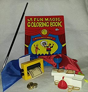 Amazing Magic Trick Bundle, Six Great Easy to Do Tricks! Magic Coloring Book, Appearing Wand, Color Changing Handkerchiefs, Money Maker, Nickles to Dimes, and Magic Coin Box