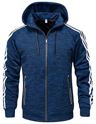 - chouyatou Men's Active Full-Zip Stripe Sleeve Hooded Sweatshirt Hoodie Track Jacket (X-Large, Blue)