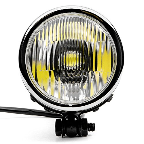 Krator 4.25 Mini Headlight w//High Low Beam Lights LED Bulb Black w//Chrome Housing