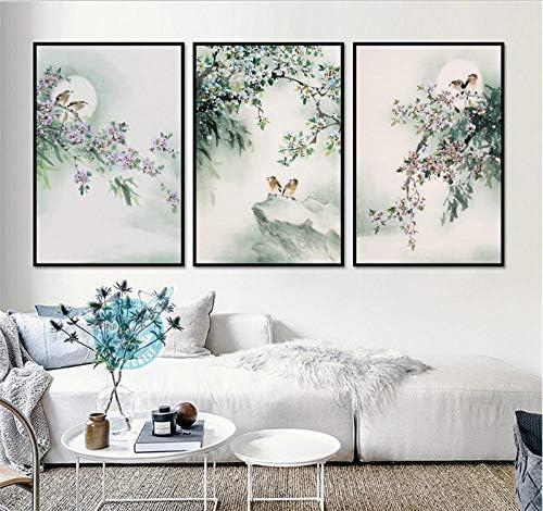絵画フリーハンド鳥花3ピース装飾プリントキャンバス用リビングルーム壁アート写真50×70センチメートル3ピースなしフレーム