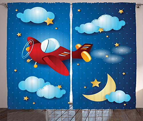 """Ambesonne Plane Curtains, Retro Airplane Flying at Night Sky with Moon and Stars Artisan Cartoon Print, Living Room Bedroom Window Drapes 2 Panel Set, 108"""" X 84"""", Blue Yellow"""