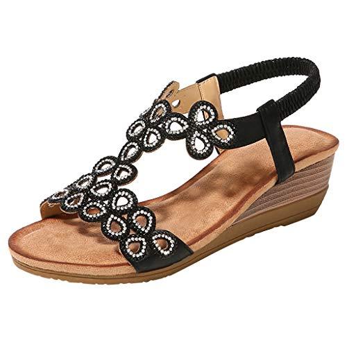 YEZIJIN Women Ladies Crystal Casual Wedges Elastic Band Bohemian Beach Shoes Sandals wedge Platform/High Heel Sandals for women 2019