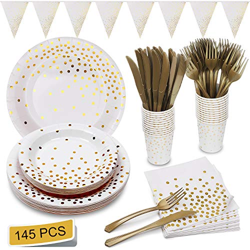 Gold And White Party (White and Gold Party Supplies Golden Dot Decoration Party Set Includes Paper Plates Napkins Knives Forks Cups Banner for Bridal Shower, Engagement, Wedding, Housewarming, Serves)