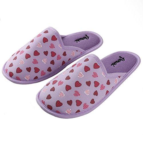 Aerusi Womens Microfiber Heart Pattern Slippers Lilac KP9Ip