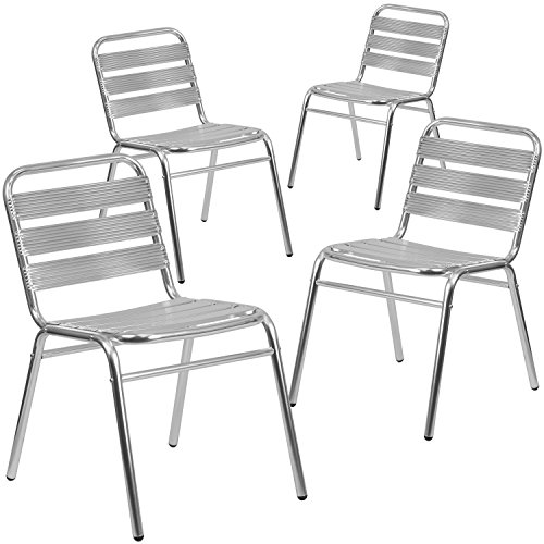 Flash Furniture 4 Pk. Commercial Aluminum Indoor-Outdoor Restaurant Stack Chair with Triple Slat ()