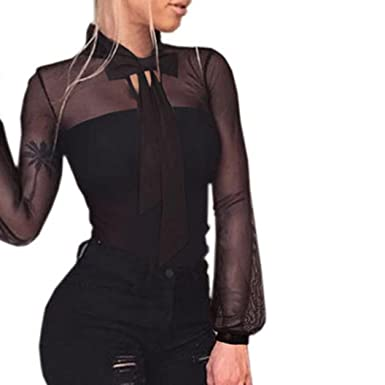 3b626d7f72 Women s Long Sleeve Sexy Transparent Tops Stylish Casual Comfy Bow Tie  Playsuit Bodysuit Jumpsuit Rompers Clubwear