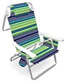 Caribbean Joe CJ-7750BLST 5 Position Folding Beach Chair with Carrying Strap, Stripe
