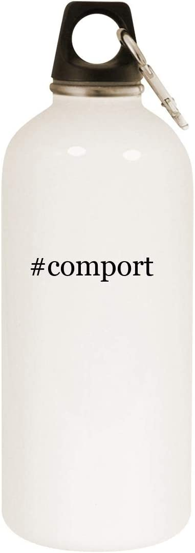 #comport - 20oz Hashtag Stainless Steel White Water Bottle with Carabiner, White